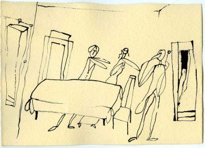 """Zyklus zu Thornton Wilder """"Das lange Weihnachtsmahl"""" Handzeichnung, Rohrfeder, 1. H. 60er Jahre"""